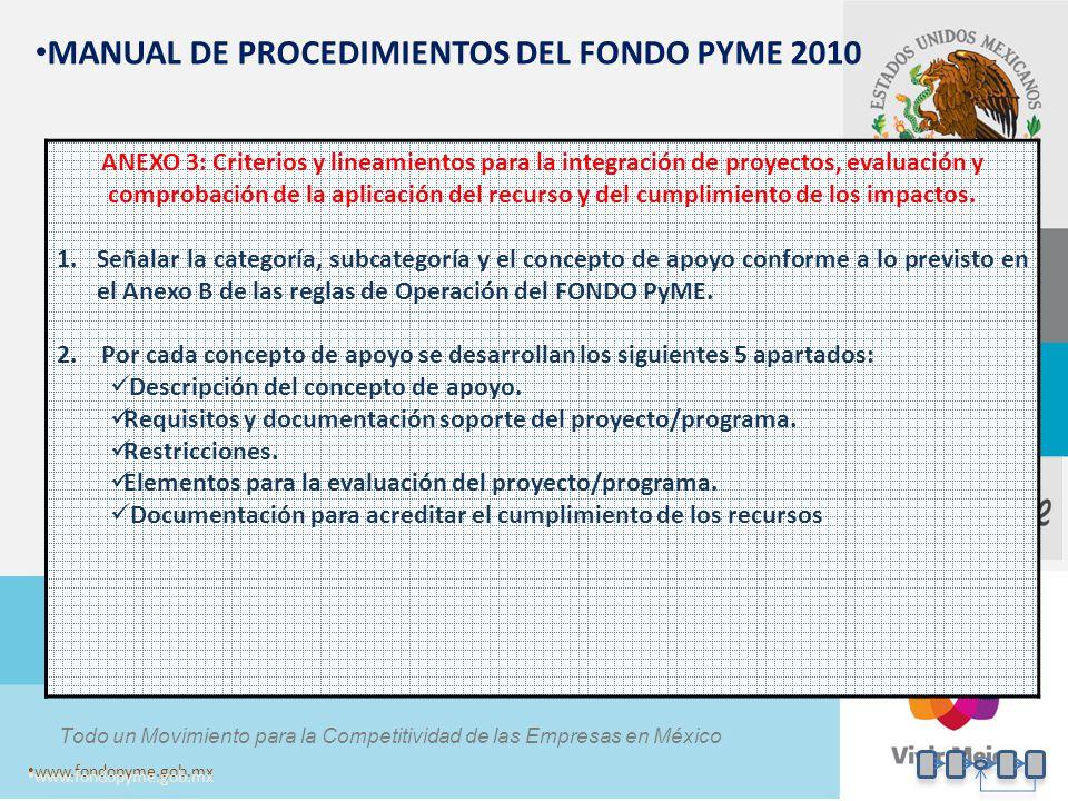 Todo un Movimiento para la Competitividad de las Empresas en México www.fondopyme.gob.mx MANUAL DE PROCEDIMIENTOS DEL FONDO PYME 2010 ANEXO 3: Criteri