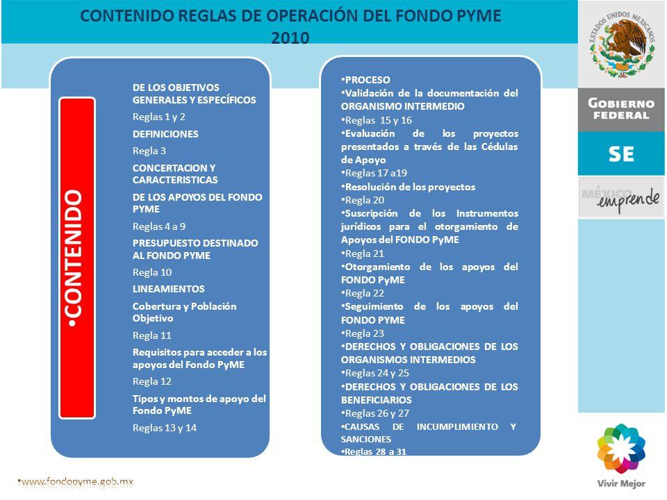 CONTENIDO REGLAS DE OPERACIÓN DEL FONDO PYME 2010 DE LOS OBJETIVOS GENERALES Y ESPECÍFICOS Reglas 1 y 2 DEFINICIONES Regla 3 CONCERTACION Y CARACTERIS