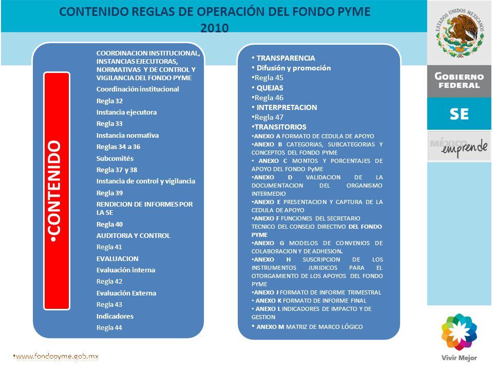 Todo un Movimiento para la Competitividad de las Empresas en México www.fondopyme.gob.mx MANUAL DE PROCEDIMIENTOS DEL FONDO PYME 2010 Reglas de Operación del FONDO PyME (DOF 30 de diciembre del 2009).
