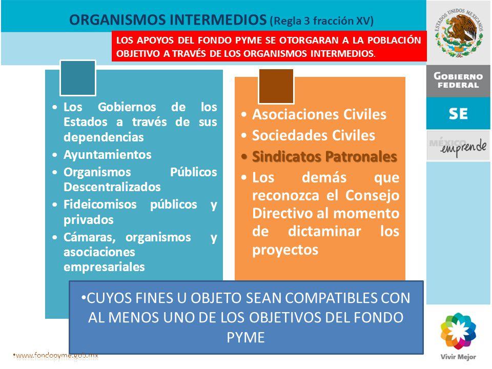 ORGANISMOS INTERMEDIOS (Regla 3 fracción XV) Los Gobiernos de los Estados a través de sus dependencias Ayuntamientos Organismos Públicos Descentraliza
