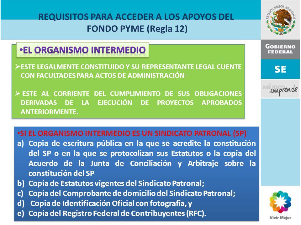 ORGANISMOS INTERMEDIOS (Regla 25) Obligaciones Aplicar estrictamente los apoyos del FONDO PyME para la ejecución del proyecto en el concepto o conceptos de apoyo aprobados.