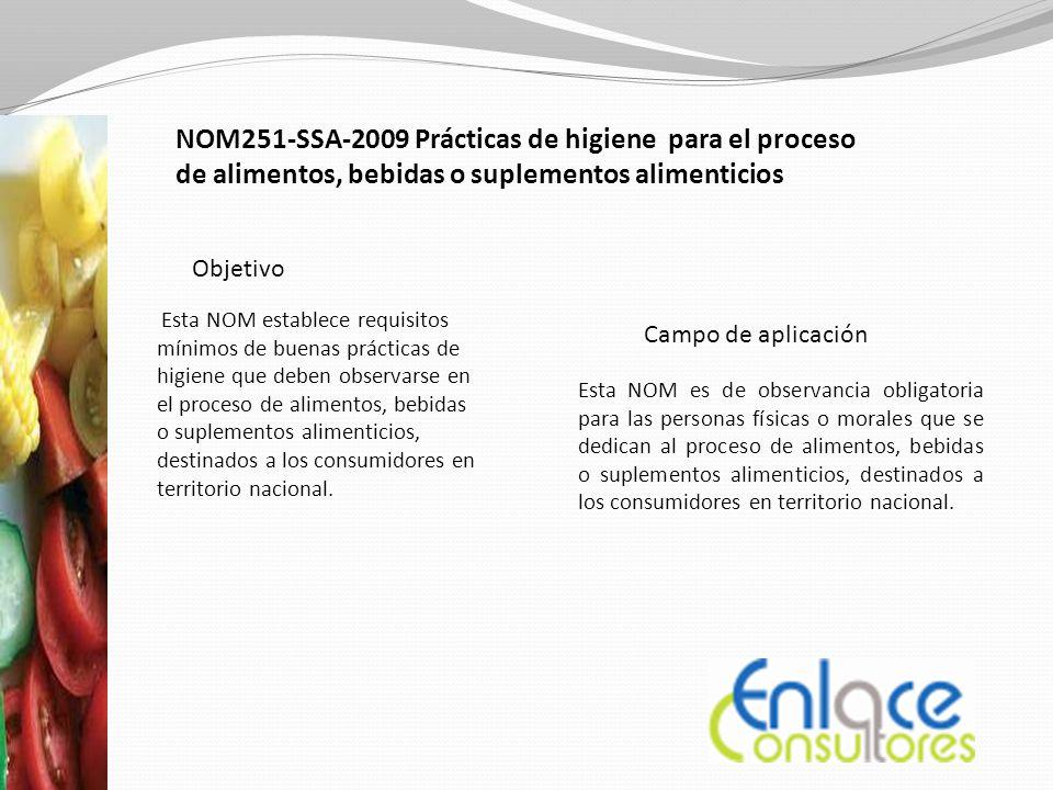 Esta NOM establece requisitos mínimos de buenas prácticas de higiene que deben observarse en el proceso de alimentos, bebidas o suplementos alimenticios, destinados a los consumidores en territorio nacional.