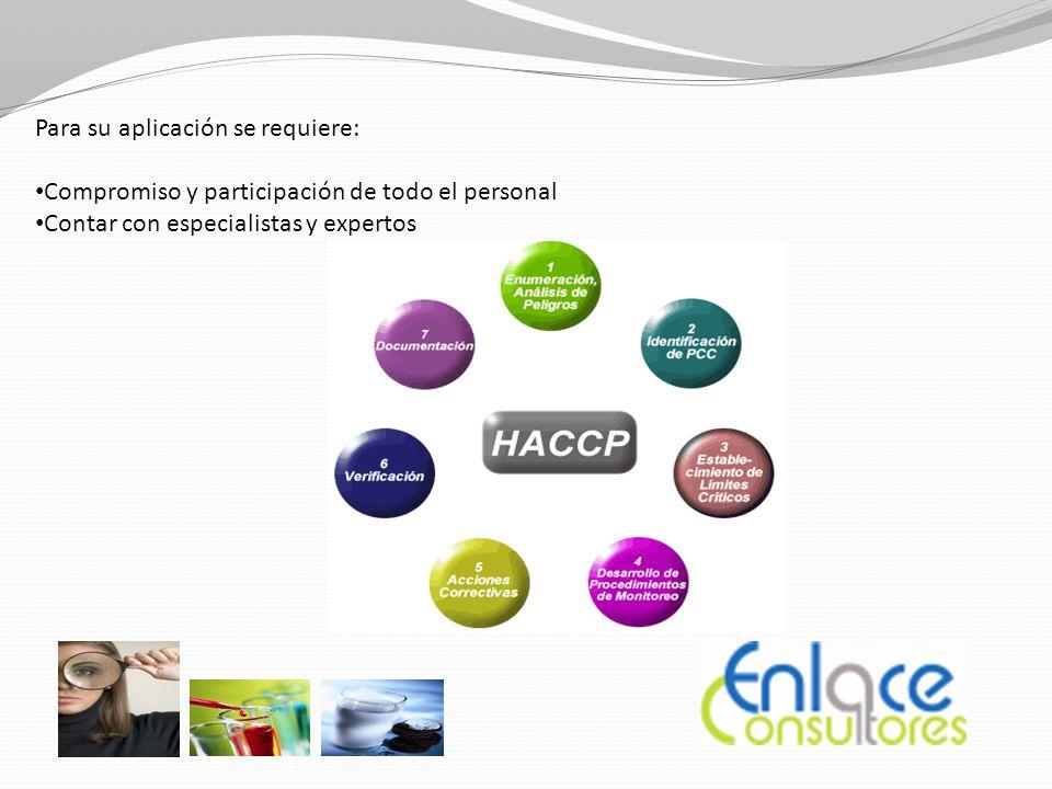 Para su aplicación se requiere: Compromiso y participación de todo el personal Contar con especialistas y expertos
