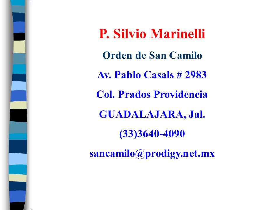 P. Silvio Marinelli Orden de San Camilo Av. Pablo Casals # 2983 Col. Prados Providencia GUADALAJARA, Jal. (33)3640-4090 sancamilo@prodigy.net.mx