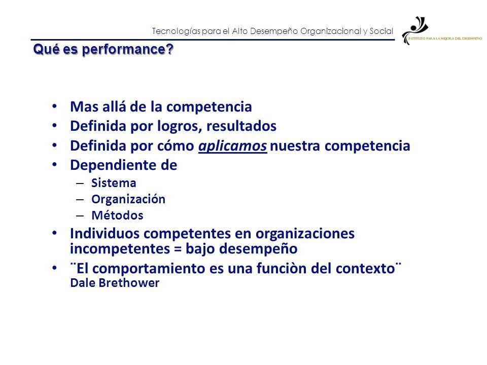 Tecnologías para el Alto Desempeño Organizacional y Social Qué es performance? Performance = Valor del resultado – Costo de actividades y recursos Mej