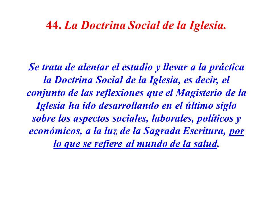 44. La Doctrina Social de la Iglesia. Se trata de alentar el estudio y llevar a la práctica la Doctrina Social de la Iglesia, es decir, el conjunto de
