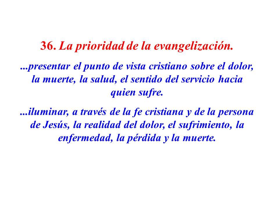 36. La prioridad de la evangelización....presentar el punto de vista cristiano sobre el dolor, la muerte, la salud, el sentido del servicio hacia quie