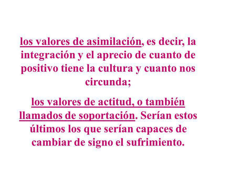 los valores de asimilación, es decir, la integración y el aprecio de cuanto de positivo tiene la cultura y cuanto nos circunda; los valores de actitud