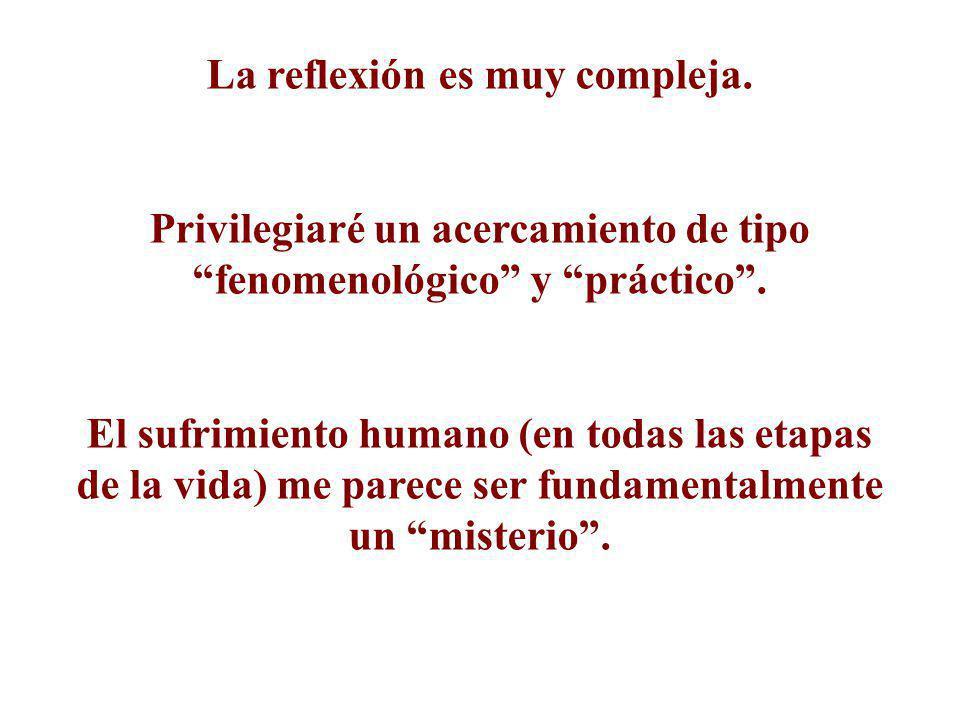 La reflexión es muy compleja. Privilegiaré un acercamiento de tipo fenomenológico y práctico. El sufrimiento humano (en todas las etapas de la vida) m