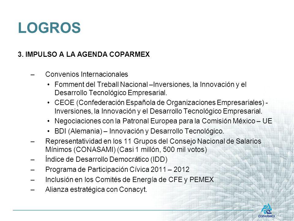 3. IMPULSO A LA AGENDA COPARMEX –Convenios Internacionales Fomment del Treball Nacional –Inversiones, la Innovación y el Desarrollo Tecnológico Empres