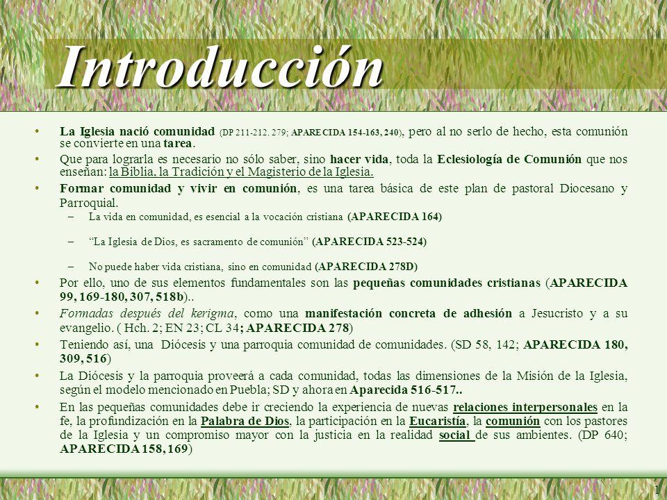 1 Introducción La Iglesia nació comunidad (DP 211-212.