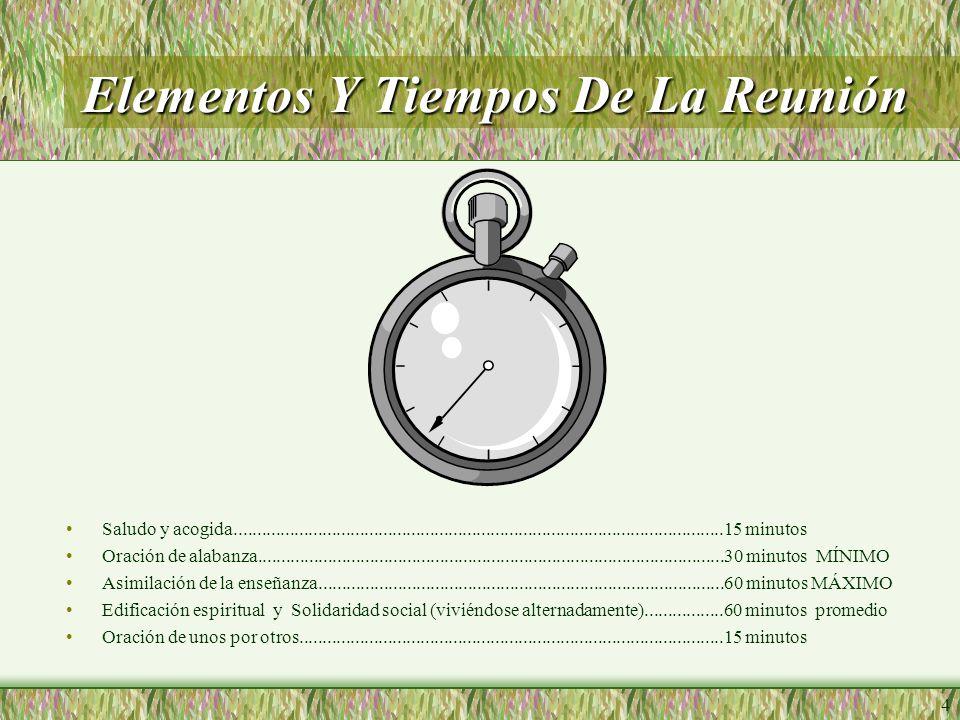 4 Elementos Y Tiempos De La Reunión Saludo y acogida.........................................................................................................15 minutos Oración de alabanza....................................................................................................30 minutos MÍNIMO Asimilación de la enseñanza.......................................................................................60 minutos MÁXIMO Edificación espiritual y Solidaridad social (viviéndose alternadamente).................60 minutos promedio Oración de unos por otros...........................................................................................15 minutos