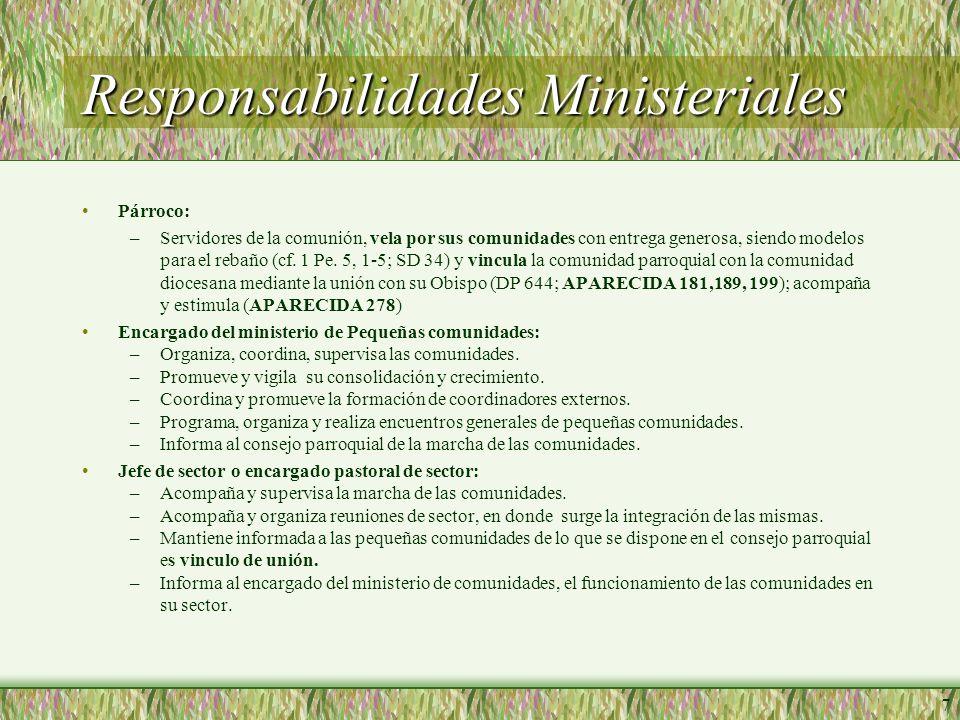 7 Responsabilidades Ministeriales Párroco: –Servidores de la comunión, vela por sus comunidades con entrega generosa, siendo modelos para el rebaño (cf.