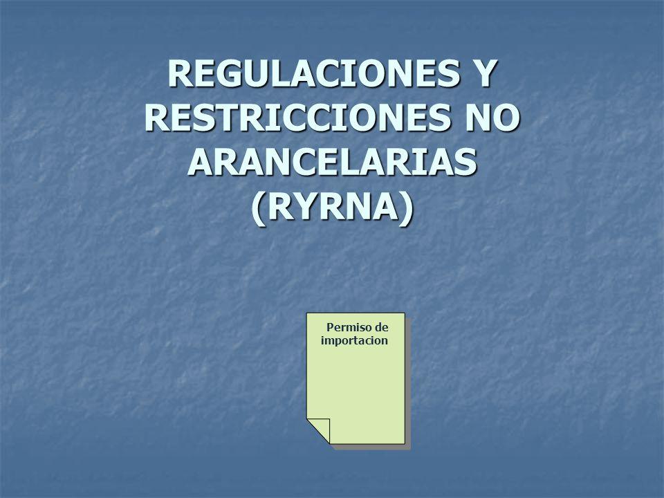 REGULACIONES Y RESTRICCIONES NO ARANCELARIAS (RYRNA) Permiso de importacion