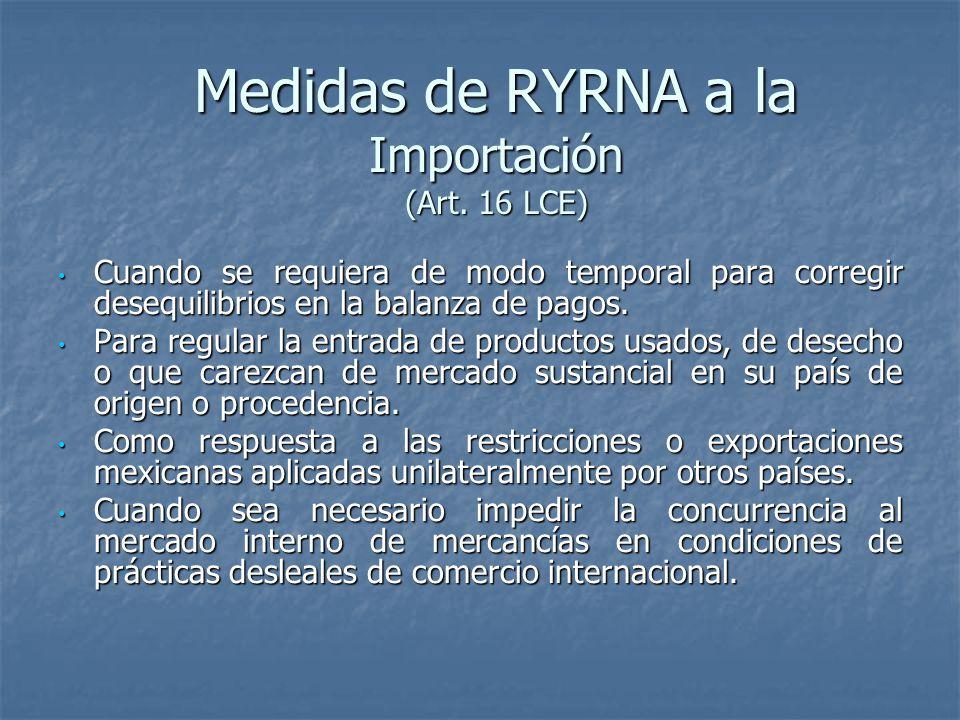 Medidas de RYRNA a la Importación (Art.