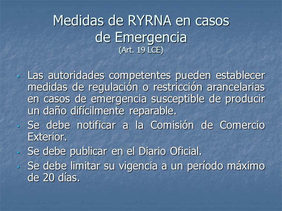 Medidas de RYRNA en casos de Emergencia (Art.