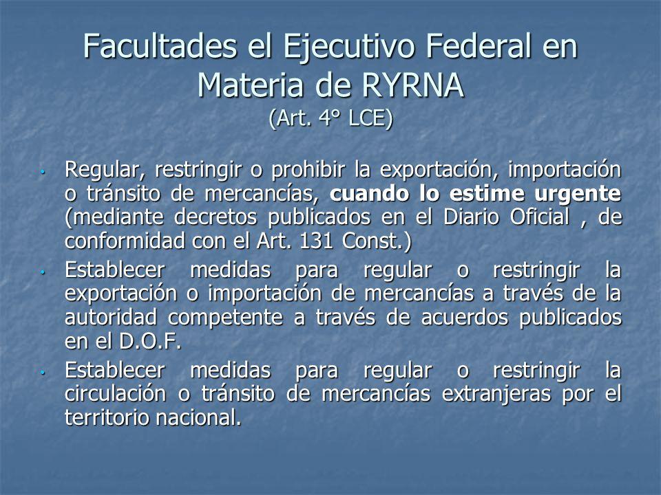 Facultades de la Secretaria de Economía en Materia de RYRNA (Art.