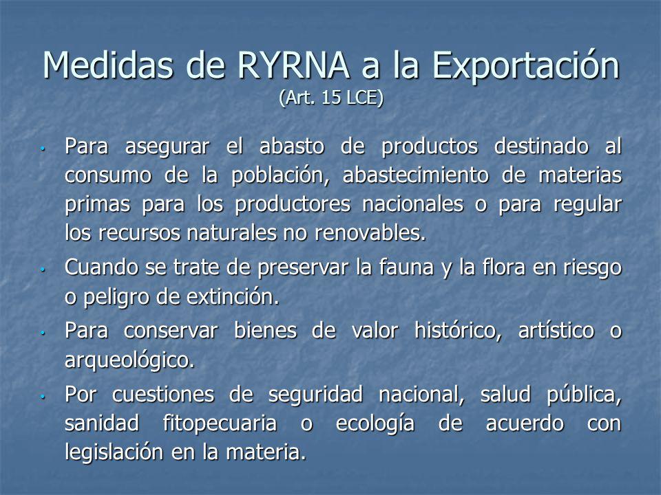 Medidas de RYRNA a la Exportación (Art.