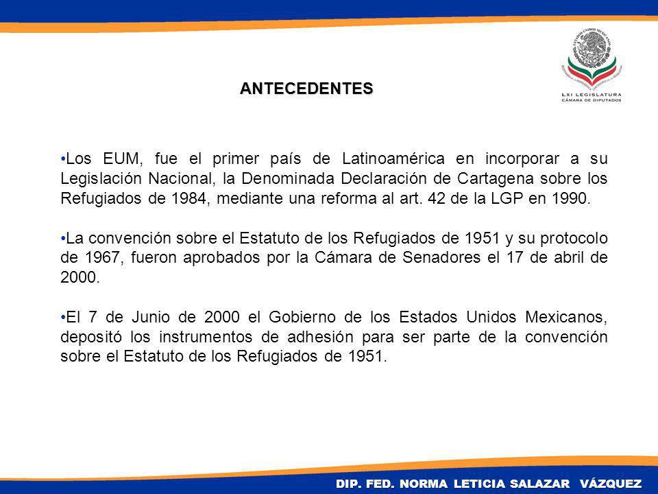 ANTECEDENTES Los EUM, fue el primer país de Latinoamérica en incorporar a su Legislación Nacional, la Denominada Declaración de Cartagena sobre los Refugiados de 1984, mediante una reforma al art.