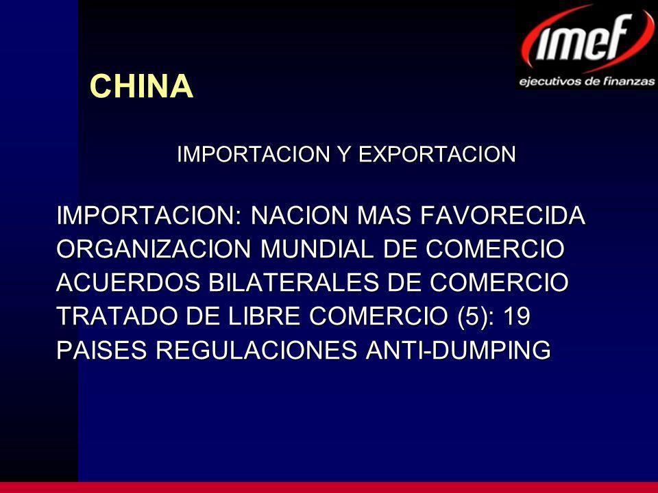 CHINA IMPORTACION Y EXPORTACION IMPORTACION: NACION MAS FAVORECIDA ORGANIZACION MUNDIAL DE COMERCIO ACUERDOS BILATERALES DE COMERCIO TRATADO DE LIBRE COMERCIO (5): 19 PAISES REGULACIONES ANTI-DUMPING