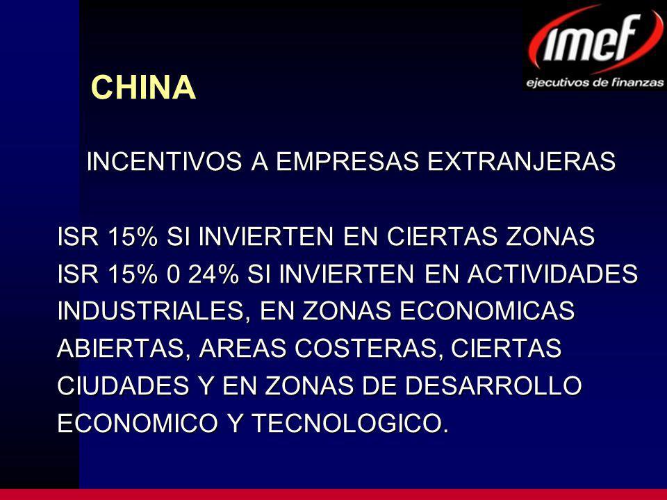 CHINA INCENTIVOS A EMPRESAS EXTRANJERAS ISR 15% SI INVIERTEN EN CIERTAS ZONAS ISR 15% 0 24% SI INVIERTEN EN ACTIVIDADES INDUSTRIALES, EN ZONAS ECONOMICAS ABIERTAS, AREAS COSTERAS, CIERTAS CIUDADES Y EN ZONAS DE DESARROLLO ECONOMICO Y TECNOLOGICO.