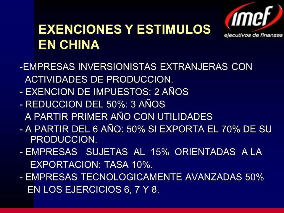 EXENCIONES Y ESTIMULOS EN CHINA -EMPRESAS INVERSIONISTAS EXTRANJERAS CON ACTIVIDADES DE PRODUCCION.