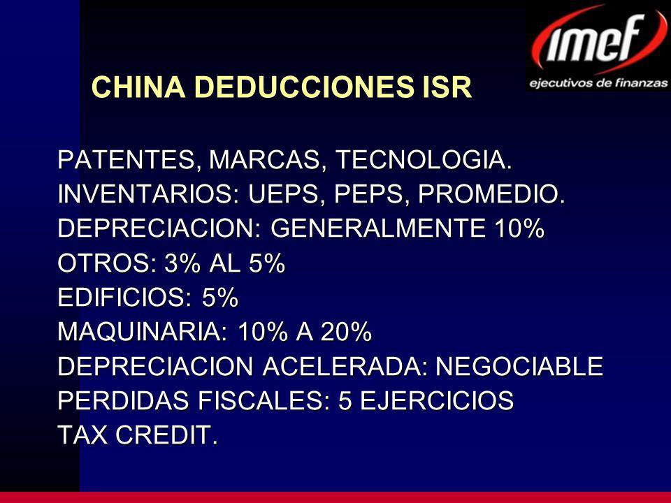CHINA DEDUCCIONES ISR PATENTES, MARCAS, TECNOLOGIA. INVENTARIOS: UEPS, PEPS, PROMEDIO. DEPRECIACION: GENERALMENTE 10% OTROS: 3% AL 5% EDIFICIOS: 5% MA