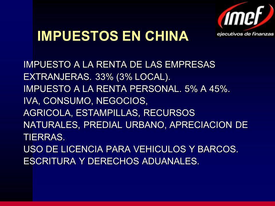 IMPUESTOS EN CHINA IMPUESTO A LA RENTA DE LAS EMPRESAS EXTRANJERAS.