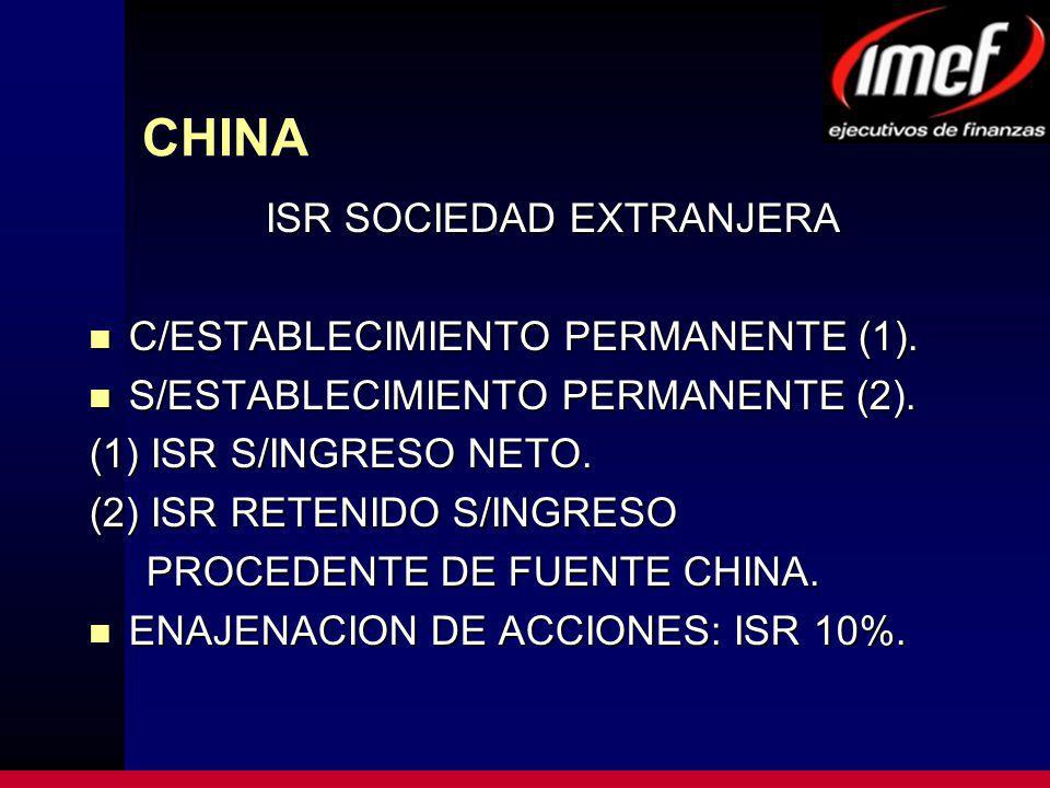 CHINA ISR SOCIEDAD EXTRANJERA C/ESTABLECIMIENTO PERMANENTE (1).