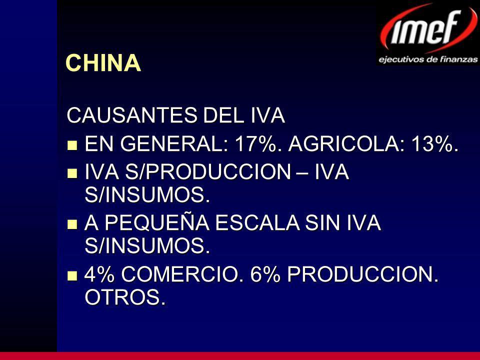 CHINA CAUSANTES DEL IVA EN GENERAL: 17%. AGRICOLA: 13%. EN GENERAL: 17%. AGRICOLA: 13%. IVA S/PRODUCCION – IVA S/INSUMOS. IVA S/PRODUCCION – IVA S/INS
