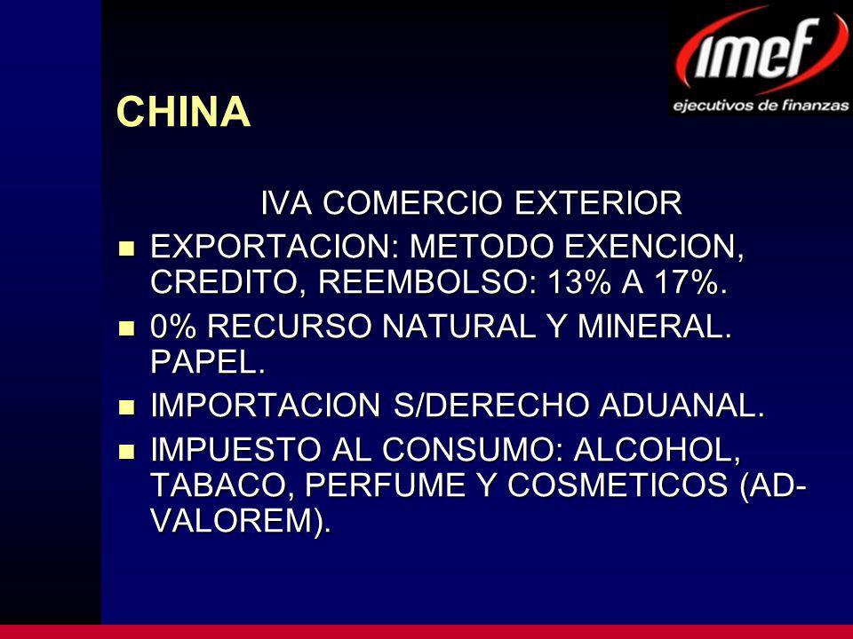CHINA IVA COMERCIO EXTERIOR EXPORTACION: METODO EXENCION, CREDITO, REEMBOLSO: 13% A 17%.
