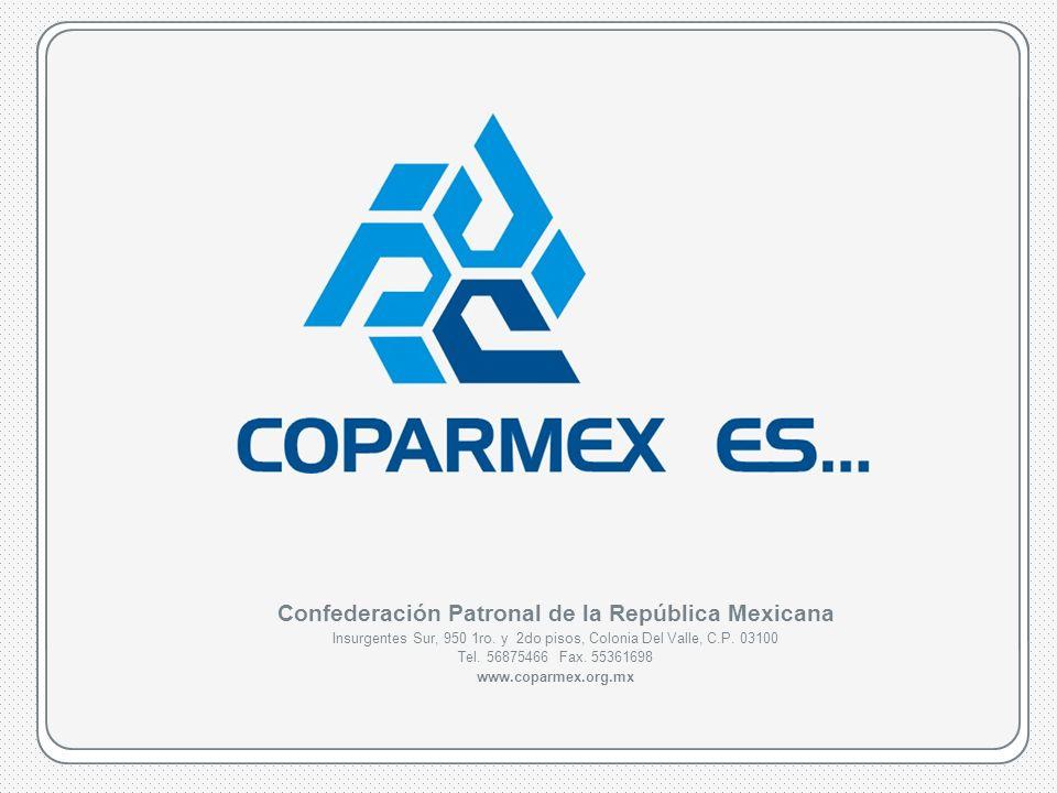 COPARMEX es…www.coparmex.org.mx Confederación Patronal de la República Mexicana Insurgentes Sur, 950 1ro.
