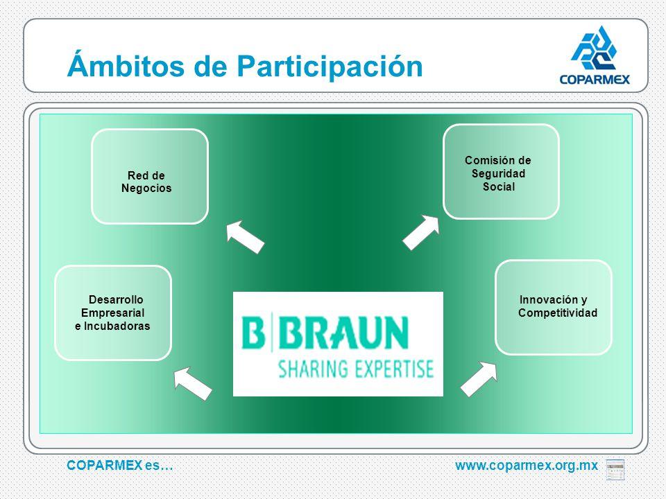 COPARMEX es…www.coparmex.org.mx Ámbitos de Participación Comisión de Seguridad Social Red de Negocios Desarrollo Empresarial e Incubadoras Innovación y Competitividad