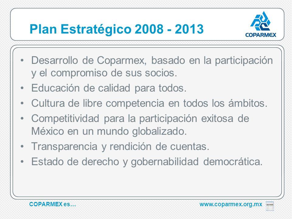 COPARMEX es…www.coparmex.org.mx Plan Estratégico 2008 - 2013 Desarrollo de Coparmex, basado en la participación y el compromiso de sus socios.