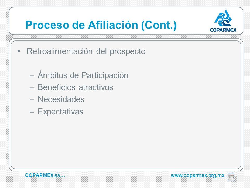 COPARMEX es…www.coparmex.org.mx Proceso de Afiliación (Cont.) Retroalimentación del prospecto –Ámbitos de Participación –Beneficios atractivos –Necesidades –Expectativas