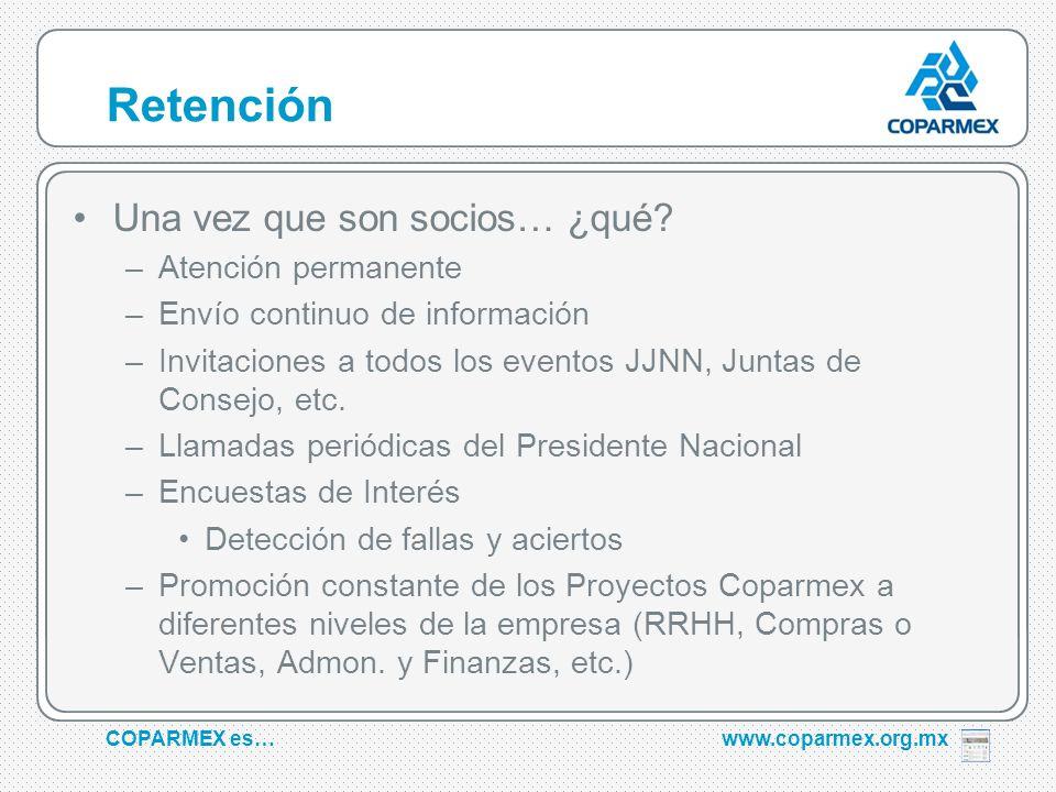 COPARMEX es…www.coparmex.org.mx Retención Una vez que son socios… ¿qué.