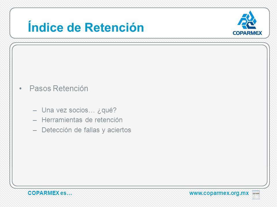 COPARMEX es…www.coparmex.org.mx Índice de Retención Pasos Retención –Una vez socios… ¿qué.