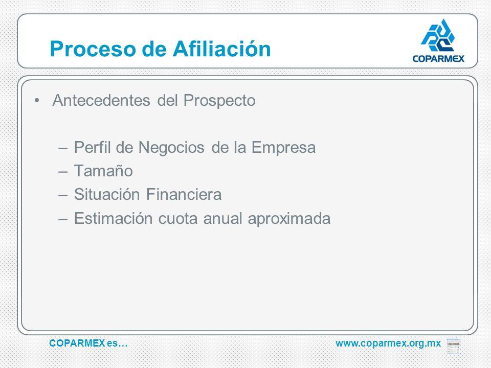 COPARMEX es…www.coparmex.org.mx Proceso de Afiliación Antecedentes del Prospecto –Perfil de Negocios de la Empresa –Tamaño –Situación Financiera –Estimación cuota anual aproximada