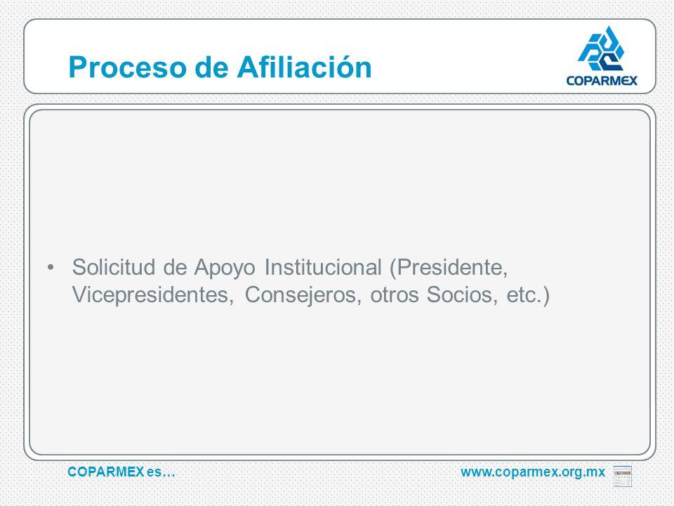 COPARMEX es…www.coparmex.org.mx Proceso de Afiliación Solicitud de Apoyo Institucional (Presidente, Vicepresidentes, Consejeros, otros Socios, etc.)