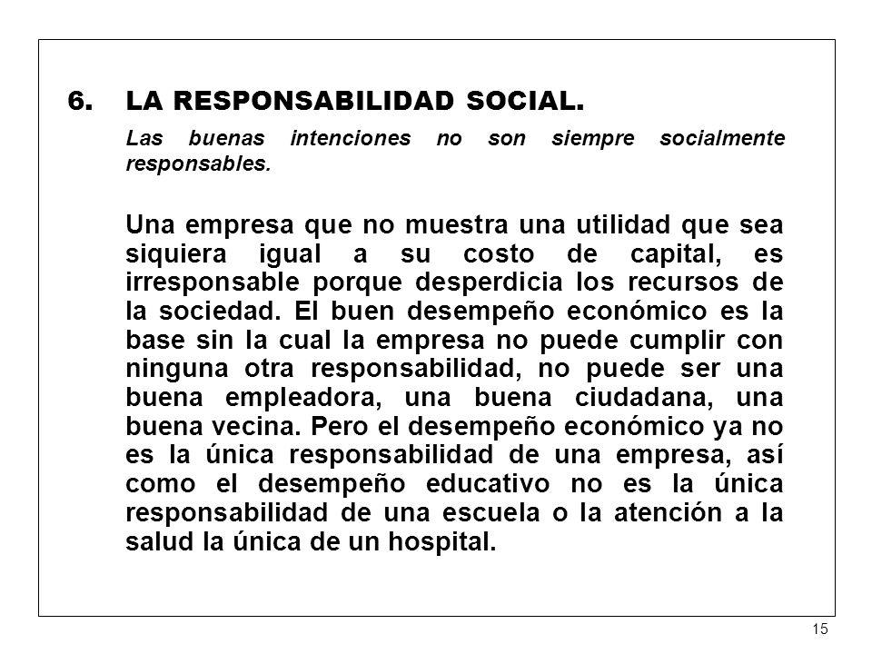 6.LA RESPONSABILIDAD SOCIAL.Las buenas intenciones no son siempre socialmente responsables.