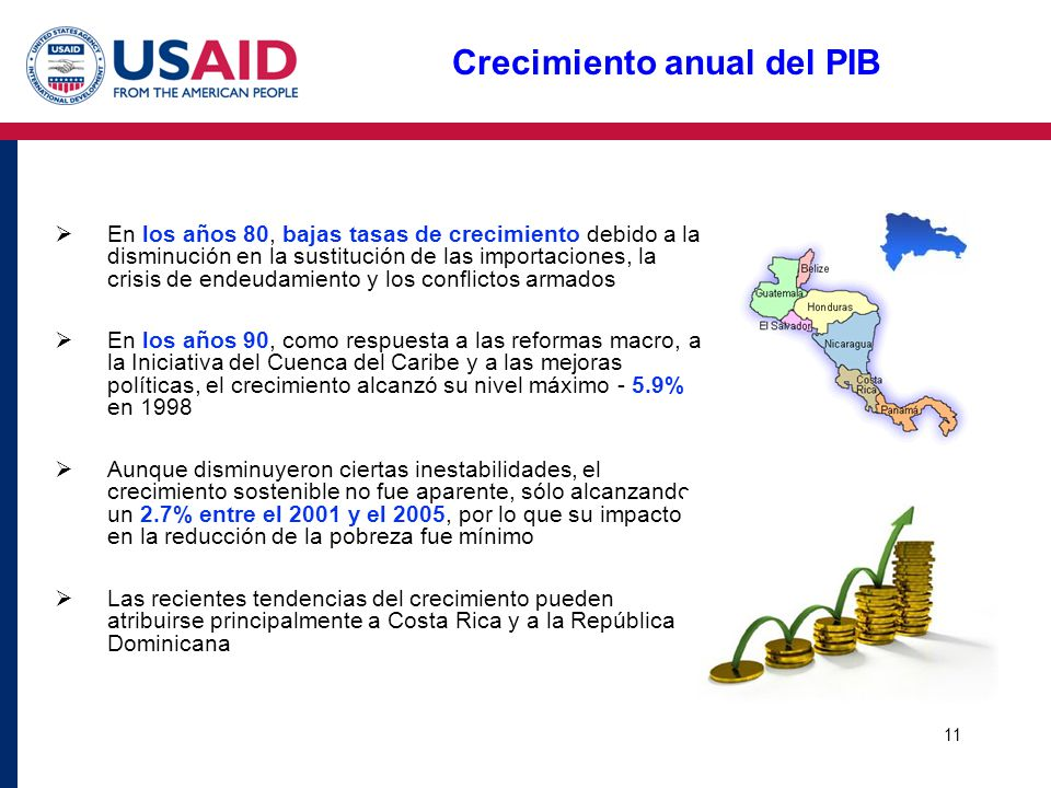 11 Crecimiento anual del PIB En los años 80, bajas tasas de crecimiento debido a la disminución en la sustitución de las importaciones, la crisis de e