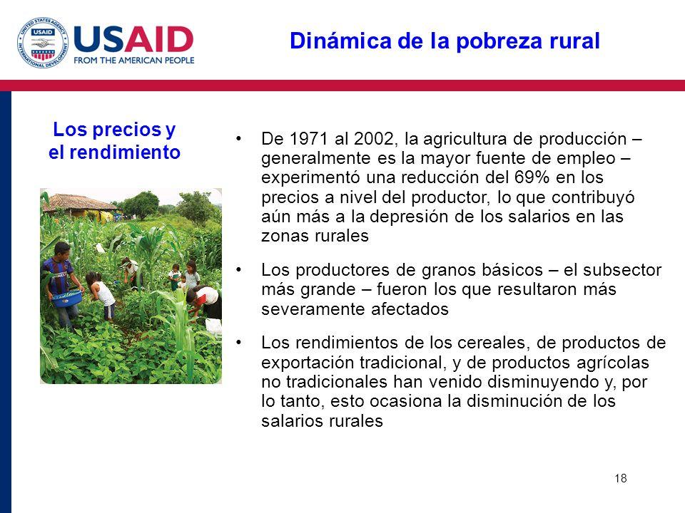 18 Dinámica de la pobreza rural Los precios y el rendimiento De 1971 al 2002, la agricultura de producción – generalmente es la mayor fuente de empleo