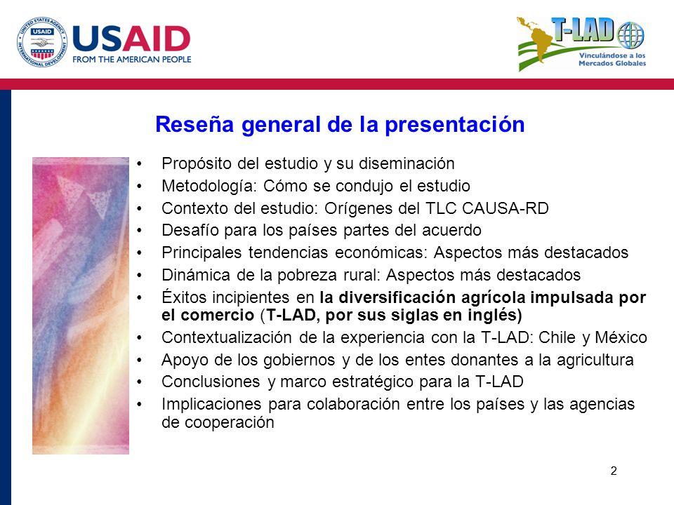 23 El modelo basado en el comercio: La experiencia chilena Una reducción audaz y unilateral del promedio de los aranceles, de más de un 300 por ciento en 1970 a menos del 2 por ciento para el 2007 (la vía abrupta y total) Un compromiso sostenido para establecer un ambiente propicio y estructuras de apoyo que faciliten el crecimiento impulsado por el comercio en el sector agrícola (con énfasis en la información de mercados) El sector agro-comercial respondió al transformarse en un elemento impulsor fundamental que contribuyó a la reducción de la pobreza y a un crecimiento económico general más sólido (la vinculación de la agricultura con los sectores industrial y de servicios) El establecimiento de vínculos entre la agricultura de producción y las industrias de pos-cosecha reduce la pobreza al crear puestos de empleo más remunerativos para la mano de obra no calificada (Banco Mundial, 2003 y 2005) Contextualización de la experiencia con la T-LAD