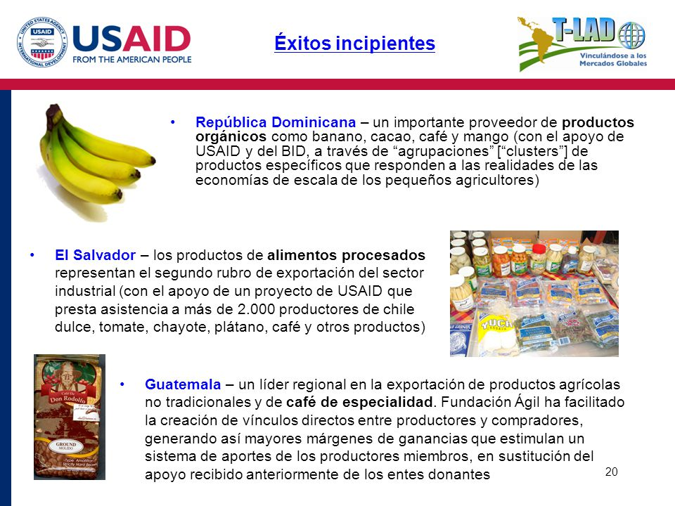 20 República Dominicana – un importante proveedor de productos orgánicos como banano, cacao, café y mango (con el apoyo de USAID y del BID, a través d