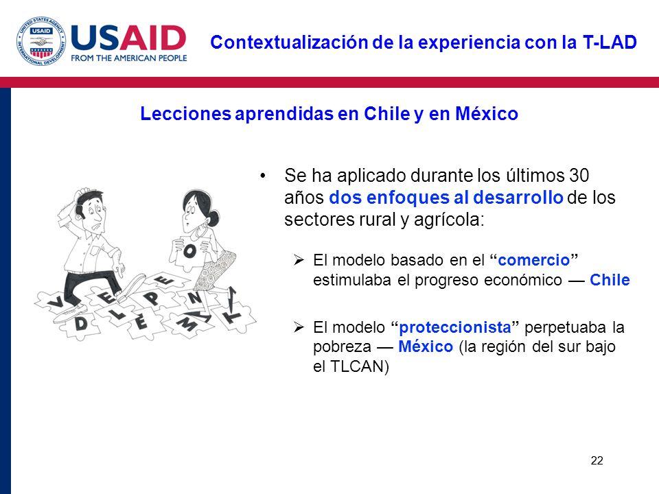 22 Lecciones aprendidas en Chile y en México Se ha aplicado durante los últimos 30 años dos enfoques al desarrollo de los sectores rural y agrícola: E