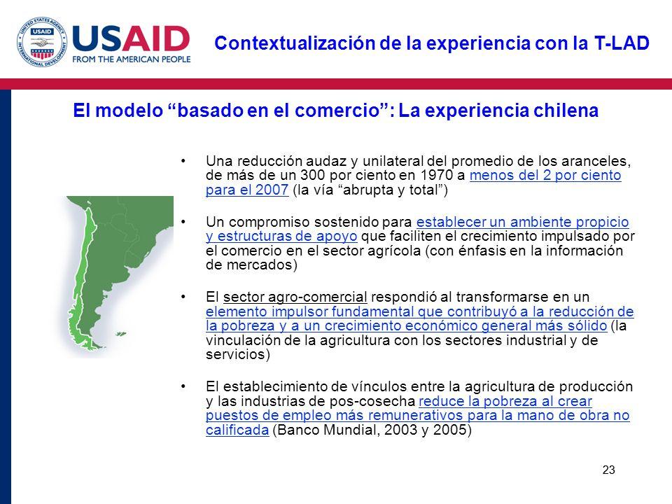 23 El modelo basado en el comercio: La experiencia chilena Una reducción audaz y unilateral del promedio de los aranceles, de más de un 300 por ciento