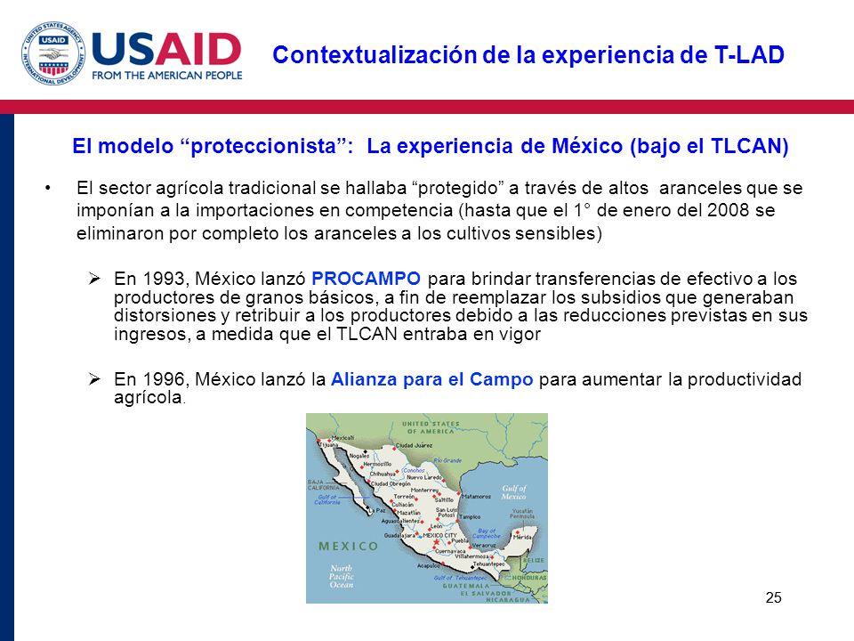 25 El modelo proteccionista: La experiencia de México (bajo el TLCAN) El sector agrícola tradicional se hallaba protegido a través de altos aranceles