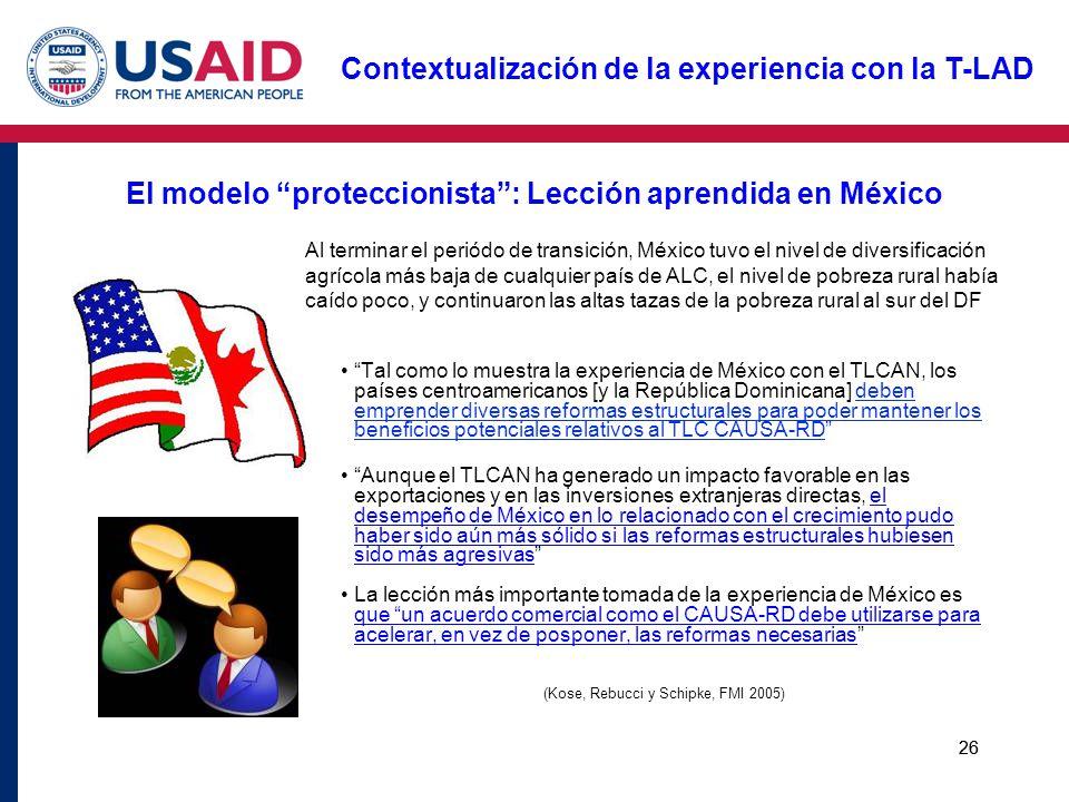26 El modelo proteccionista: Lección aprendida en México Tal como lo muestra la experiencia de México con el TLCAN, los países centroamericanos [y la