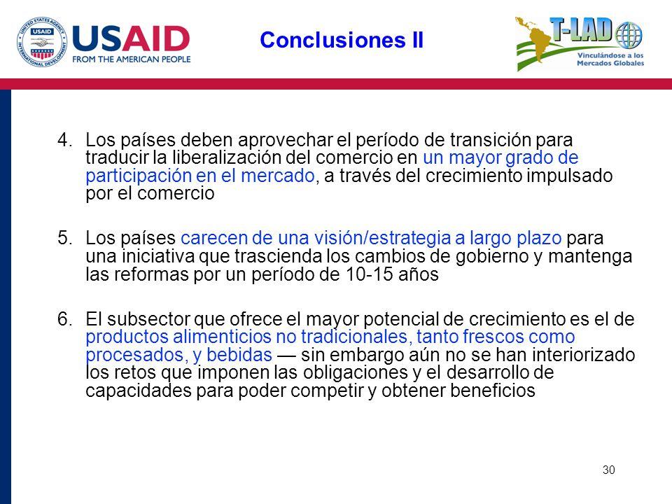 30 Conclusiones II 4.Los países deben aprovechar el período de transición para traducir la liberalización del comercio en un mayor grado de participac