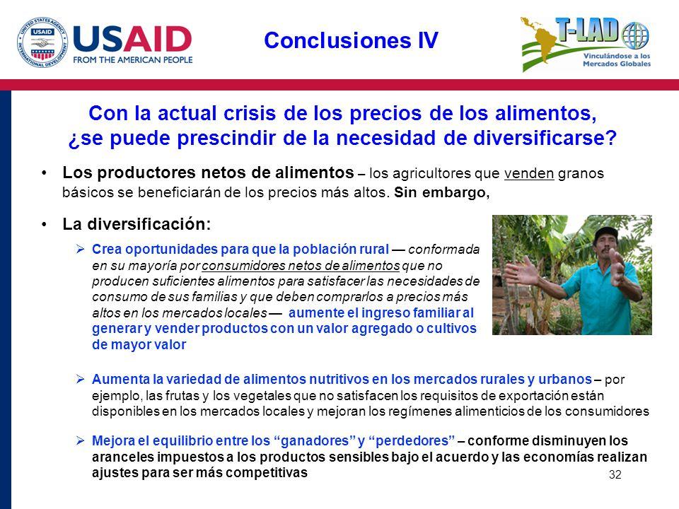 32 Conclusiones IV Con la actual crisis de los precios de los alimentos, ¿se puede prescindir de la necesidad de diversificarse? Los productores netos